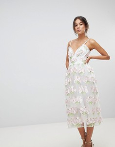 Платье миди для выпускного с цветочной аппликацией ASOS EDITION - Мульти