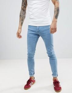 Голубые эластичные супероблегающие джинсы Lee Malone - Синий