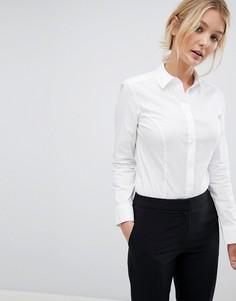 Боди-рубашка из эластичного хлопка с длинными рукавами ASOS DESIGN fuller bust - Белый