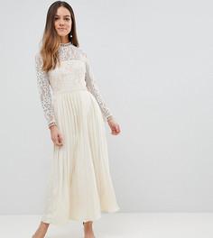 Платье макси с кружевным верхом и плиссированной юбкой Little Mistress Petite - Кремовый