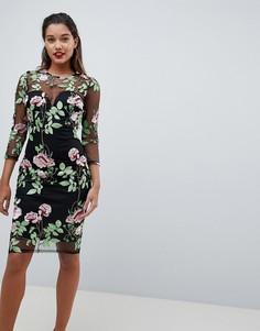 Платье-футляр с длинными рукавами и вышивкой AX Paris - Мульти