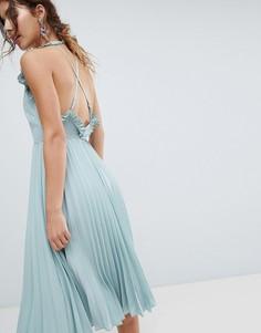 Плиссированное платье миди с открытой спиной ASOS - Зеленый