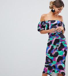 Платье миди с открытыми плечами Silver Bloom - Мульти