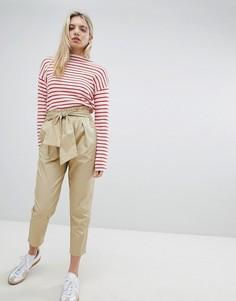 Хлопковые брюки с присборенной талией New Look - Рыжий