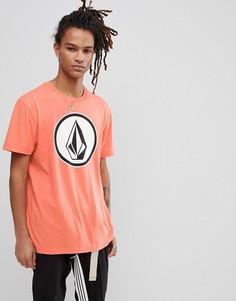 Розовая футболка с большим логотипом Volcom - Оранжевый