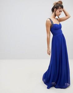 Платье макси с вырезом сердечком Little Mistress - Синий