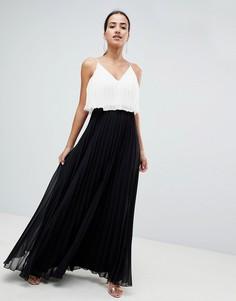 Платье макси в стиле колор блок с кроп-топом и плиссировкой ASOS DESIGN - Мульти