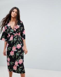 Платье миди с запахом и цветочным принтом Influence - Черный