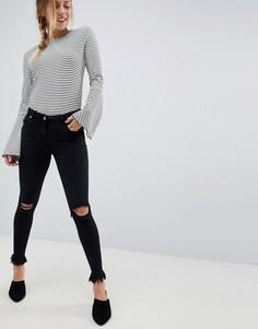 Рваные джинсы скинни с необработанными краями Parisian - Черный