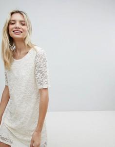 Кружевное свободное платье Monki - Белый