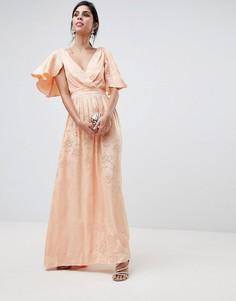 Мягкое жаккардовое платье макси с рукавами клеш ASOS DESIGN - Розовый