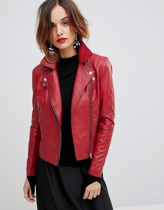 Кожаная байкерская куртка Y.A.S - Красный