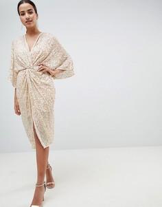 Декорированное платье-кимоно миди с глубоким вырезом ASOS DESIGN - Розовый
