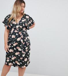 Платье миди с цветочным принтом и запахом Boohoo Plus - Черный