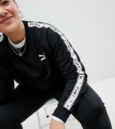 Черный свитшот с полосами на рукавах Puma эксклюзивно для ASOS Plus - Черный