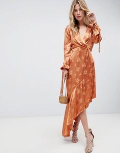Платье миди с цветочным рисунком и асимметричным краем ASOS DESIGN - Оранжевый