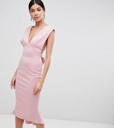 Облегающее платье миди с глубоким вырезом ASOS TALL - Розовый