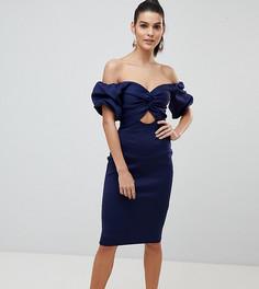 Облегающее платье миди с открытыми плечами и вырезом Flounce London - Темно-синий