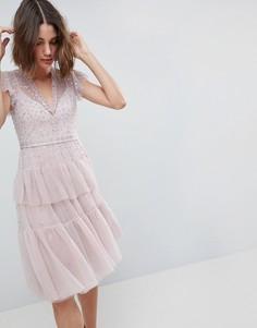 Многослойное платье миди с кружевной отделкой Needle & Thread - Фиолетовый