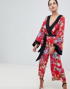 Комбинезон в стиле кимоно с цветочным принтом и контрастной отделкой ASOS DESIGN - Мульти