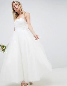 Платье-бандо миди для выпускного ASOS EDITION - Белый