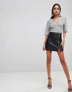 Мини-юбка из искусственной кожи с молнией ASOS DESIGN - Черный