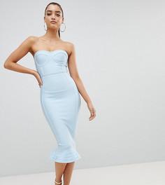 Облегающее бандажное платье с оборкой PrettyLittleThing - Синий