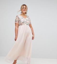 Платье макси с пайетками на лифе Club L Plus - Розовый