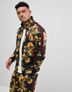 Черная спортивная куртка с цветочным принтом Nike 909242-719 - Желтый