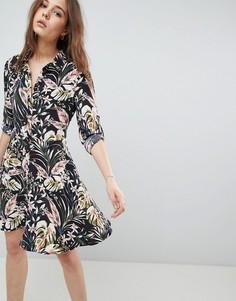 Платье-рубашка с принтом QED London - Черный