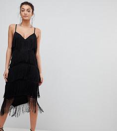 Облегающее кружевное платье миди с глубоким вырезом и отделкой бахромой ASOS TALL - Черный