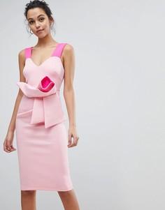 Розовое облегающее платье миди с бантом ASOS DESIGN - Розовый