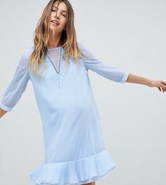 Платье с V-образным вырезом, кружевной отделкой и плиссированным подолом Mamalicious - Синий Mama.Licious