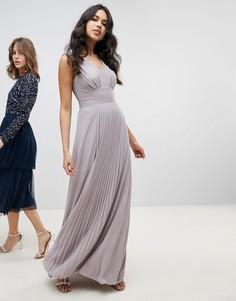 Платье макси без рукавов с плиссировкой на юбке TFNC - Серый