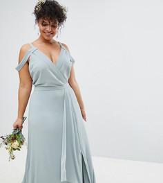 Платье макси с запахом и открытыми плечами TFNC Plus Bridesmaid - Зеленый