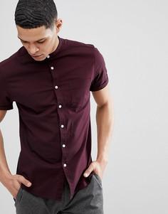 Бордовая эластичная приталенная оксфордская рубашка с короткими рукавами ASOS - Красный