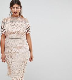 Кружевное платье-футляр миди с высоким воротом Chi Chi London Plus - Розовый