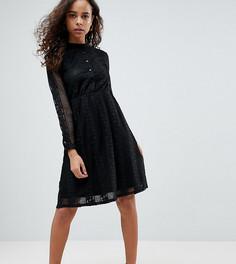 Кружевное платье-рубашка Yumi Petite - Черный