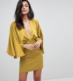 Платье мини с глубоким вырезом и рукавами кимоно ASOS DESIGN Tall - Желтый
