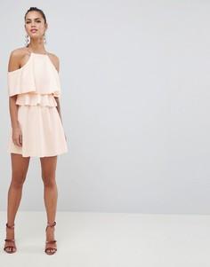 Короткое приталенное платье с вырезами на плечах ASOS DESIGN - Розовый