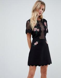 Платье мини с вышивкой Isla - Черный
