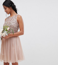Платье мини без рукавов с пайетками на лифе и вырезом на спине Maya Petite - Коричневый