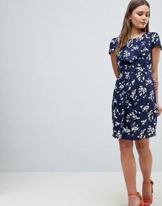 Платье с принтом и оборкой Yumi - Темно-синий