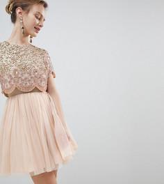 Платье для выпускного мини с отделкой на лифе и юбкой из тюля ASOS DESIGN Petite - Розовый