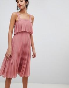Плиссированное платье миди ASOS DESIGN - Розовый