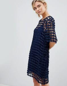 Платье из кружева кроше с цветочным узором See U Soon - Темно-синий