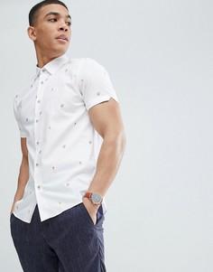 Узкая рубашка с короткими рукавами и вышивкой Ted Baker - Белый