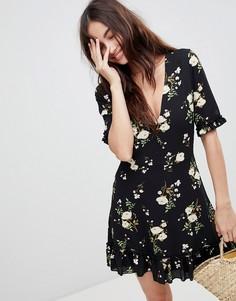 Чайное платье с цветочным принтом Parisian - Черный