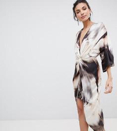 Платье-кимоно миди с абстрактным принтом ASOS DESIGN Tall - Мульти