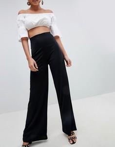 Широкие брюки с завышенной талией PrettyLittleThing - Черный